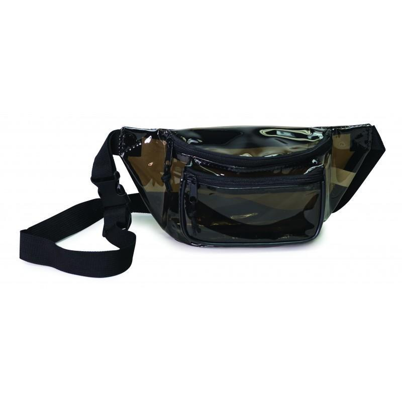 Transparent Black 3-Zippered Fanny Pack - BAGANDCANVAS.COM