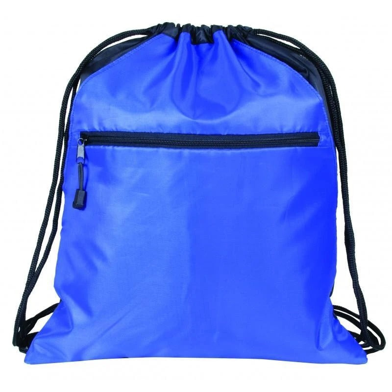 Zippered Polyester Drawstring Bag With 2 Slip Pockets - BAGANDCANVAS.COM