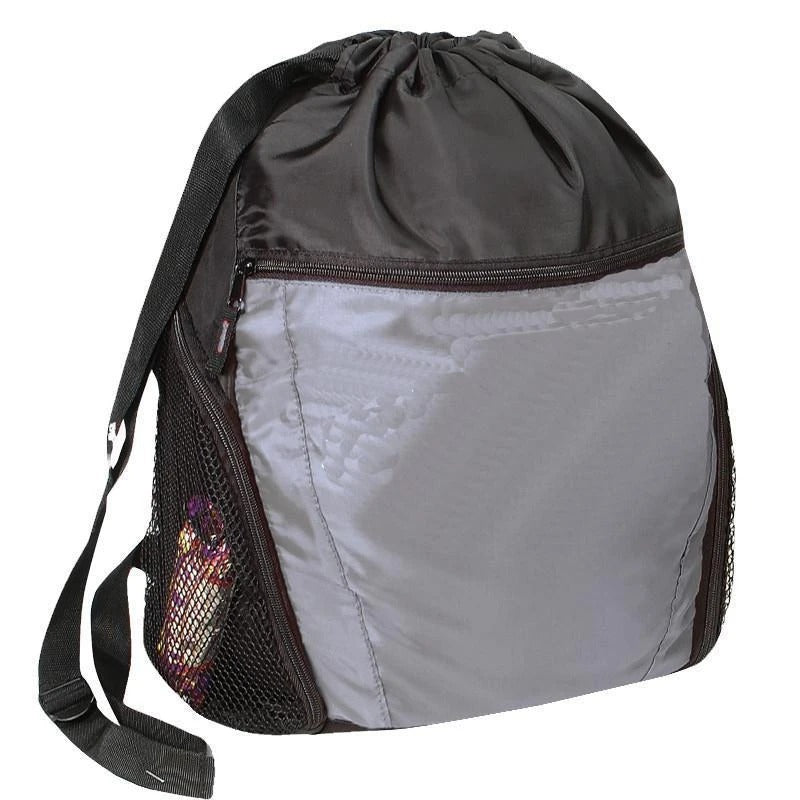 Drawstring Backpack With Front Pocket - BAGANDCANVAS.COM