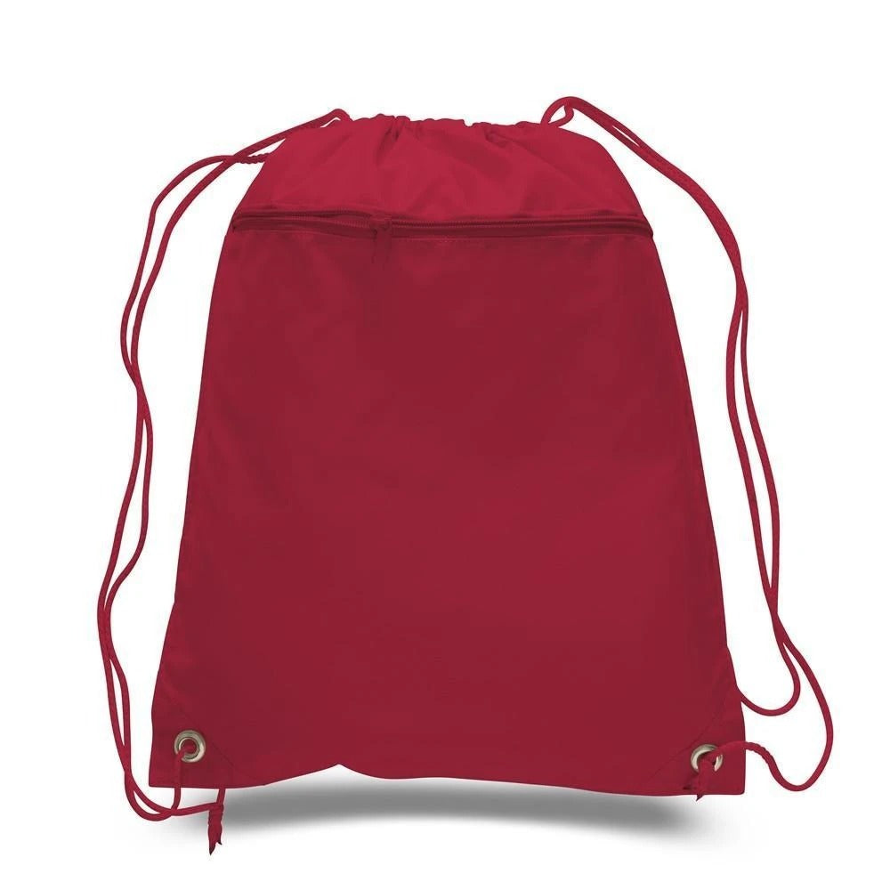 Polyester Cheap Drawstring Bags With Front Pocket - BAGANDCANVAS.COM