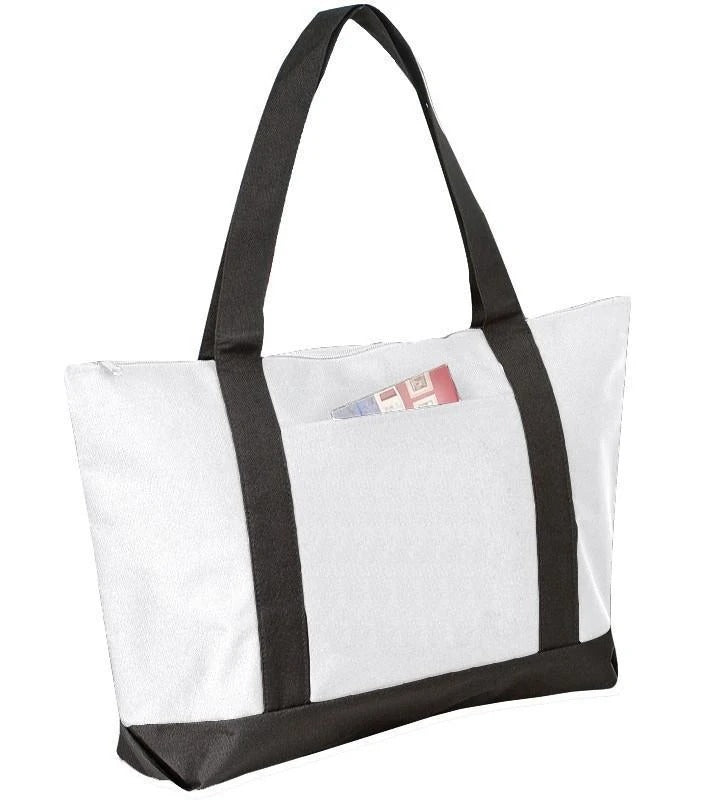 Polyester Beach Tote Bags With Zipper - BAGANDCANVAS.COM