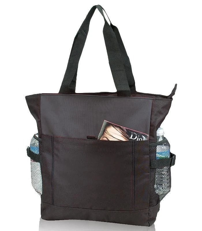 Polyester Daily Zipper Tote Bag - BAGANDCANVAS.COM