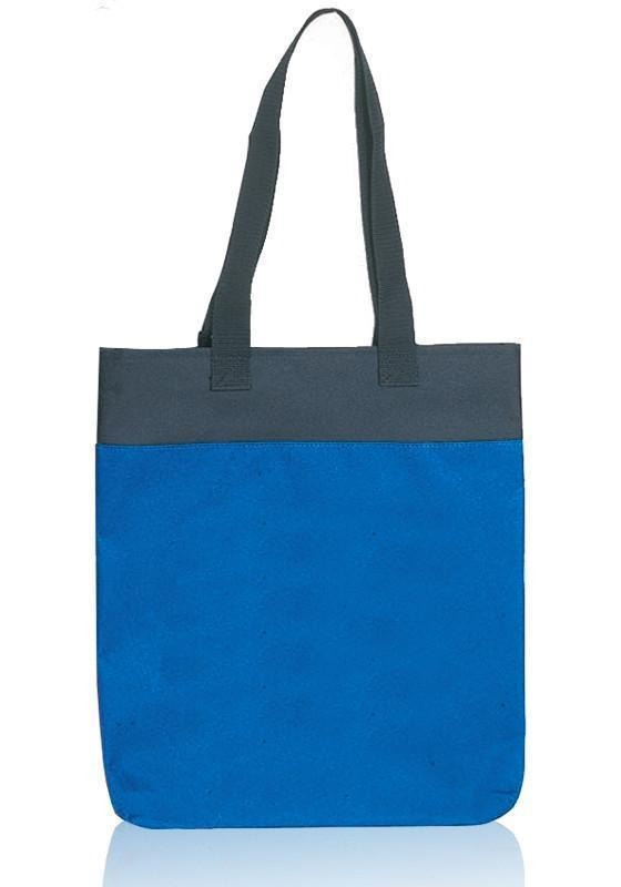 Two Tone Polyester Tote Bags With Long Handles - BAGANDCANVAS.COM