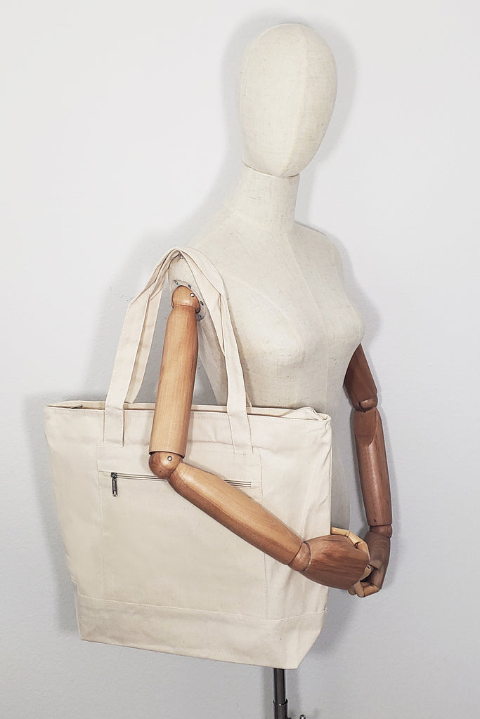 Heavy Canvas Zippered Shopping Tote Bags - BAGANDCANVAS.COM