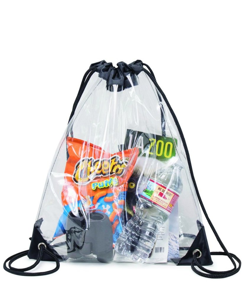 Clear Vinyl Drawstring Bag W/ Black Trim - BAGANDCANVAS.COM