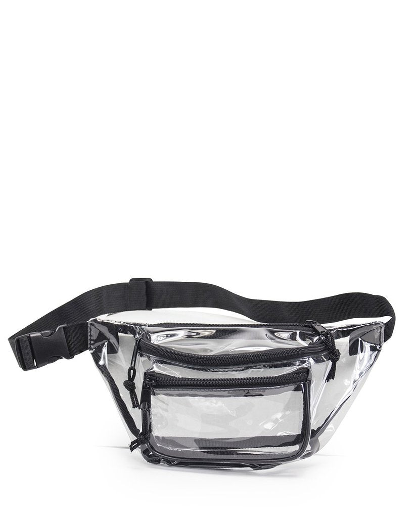 Clear Three Zipper Fanny Pack - BAGANDCANVAS.COM