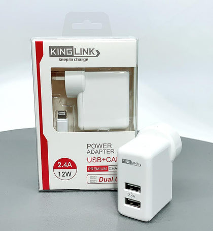 Kinglink Dual USB Home Charger with Lightning cable - 30 Minutes Fix