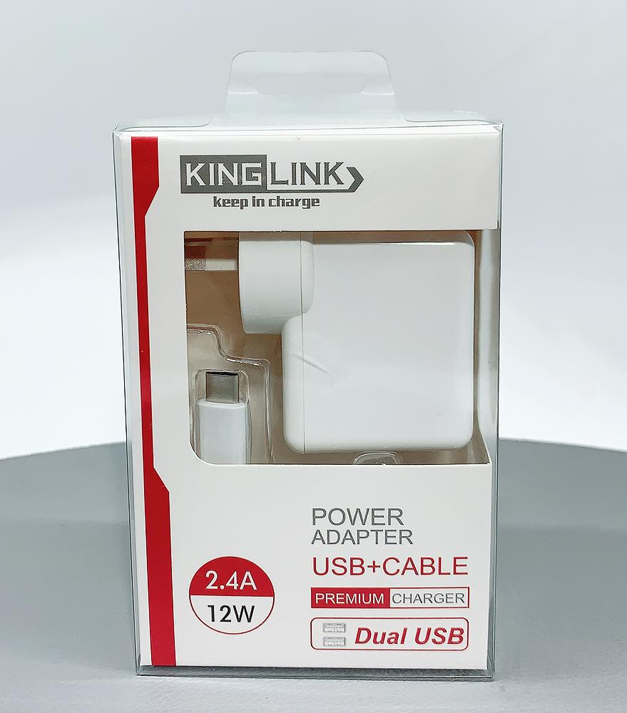 Kinglink Dual USB Home Charger with Type-C cable
