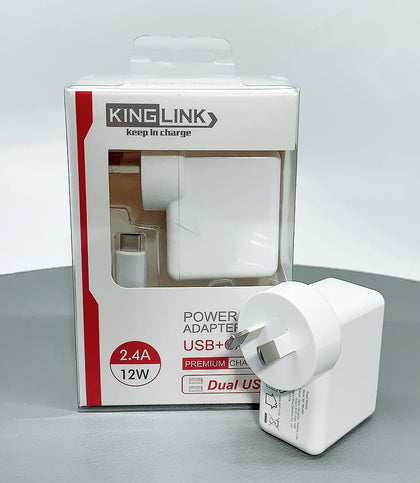 Kinglink Dual USB Home Charger with Type-C cable - 30 Minutes Fix