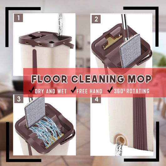 Self-Wash Squeeze Dry With Bucket Scratch A Net Stainless Steel Automatic Floor Hands Free Wash Microfiber Lazy Mop