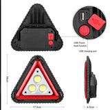 Portable triangular Function 3 Cob Led Work Lamp Usb Charging Traffic Warning Light Outdoor Camping Flood Searchlight