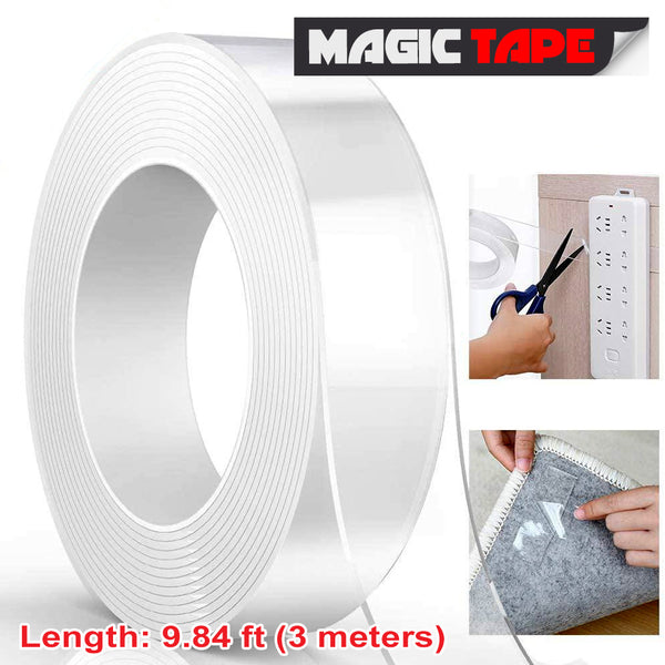 Buy1 Take1 1M Double Sided Super Adhesive Nano Magic Tape Magic Tape for Home, Kitchen, Office- Zibustores
