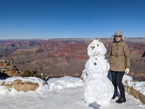 Snowman at Grand Canyon in winter