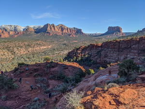 View of red rock from a hiking trail in Sedona, Arizona