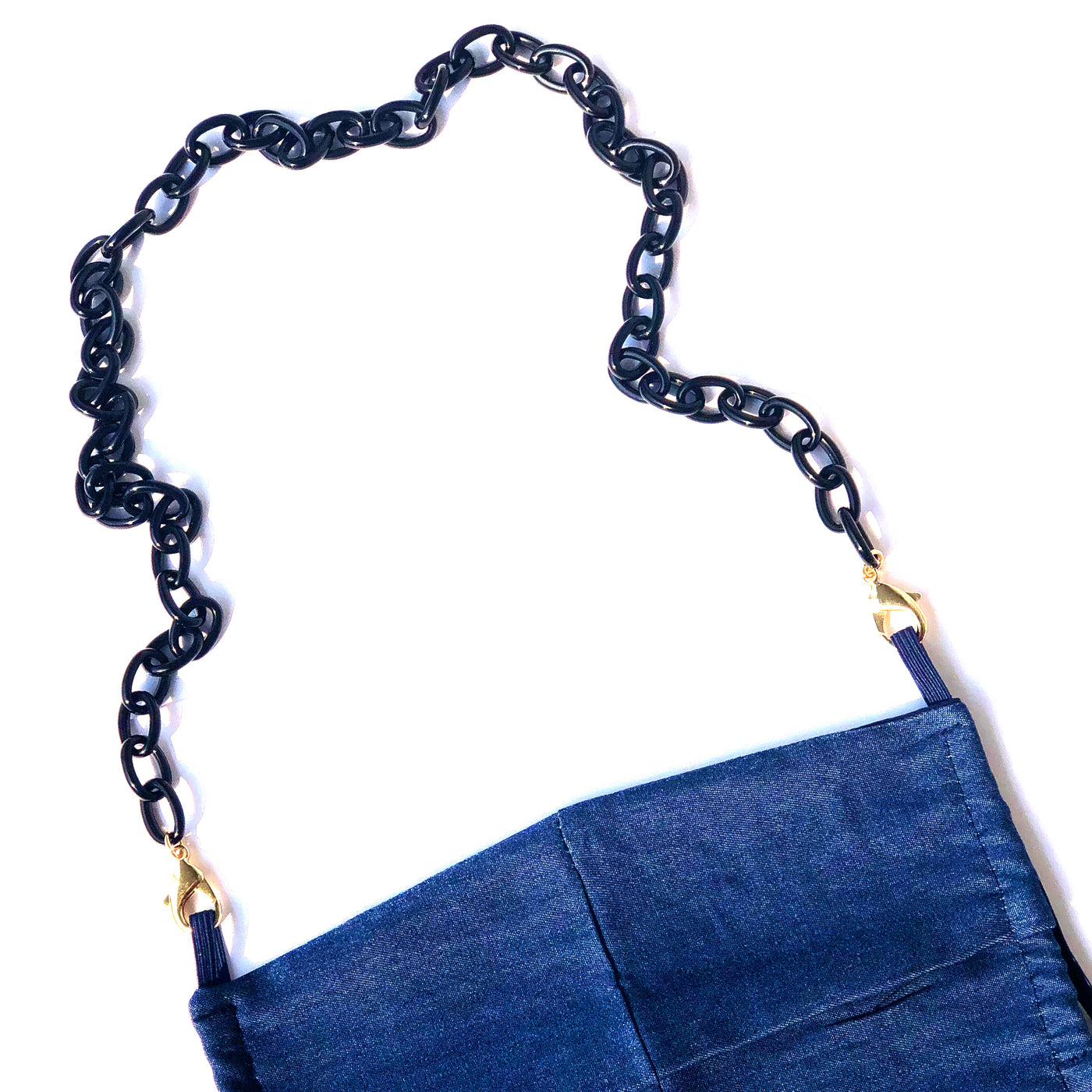 Small Acetate Links with Navy Denim Mask
