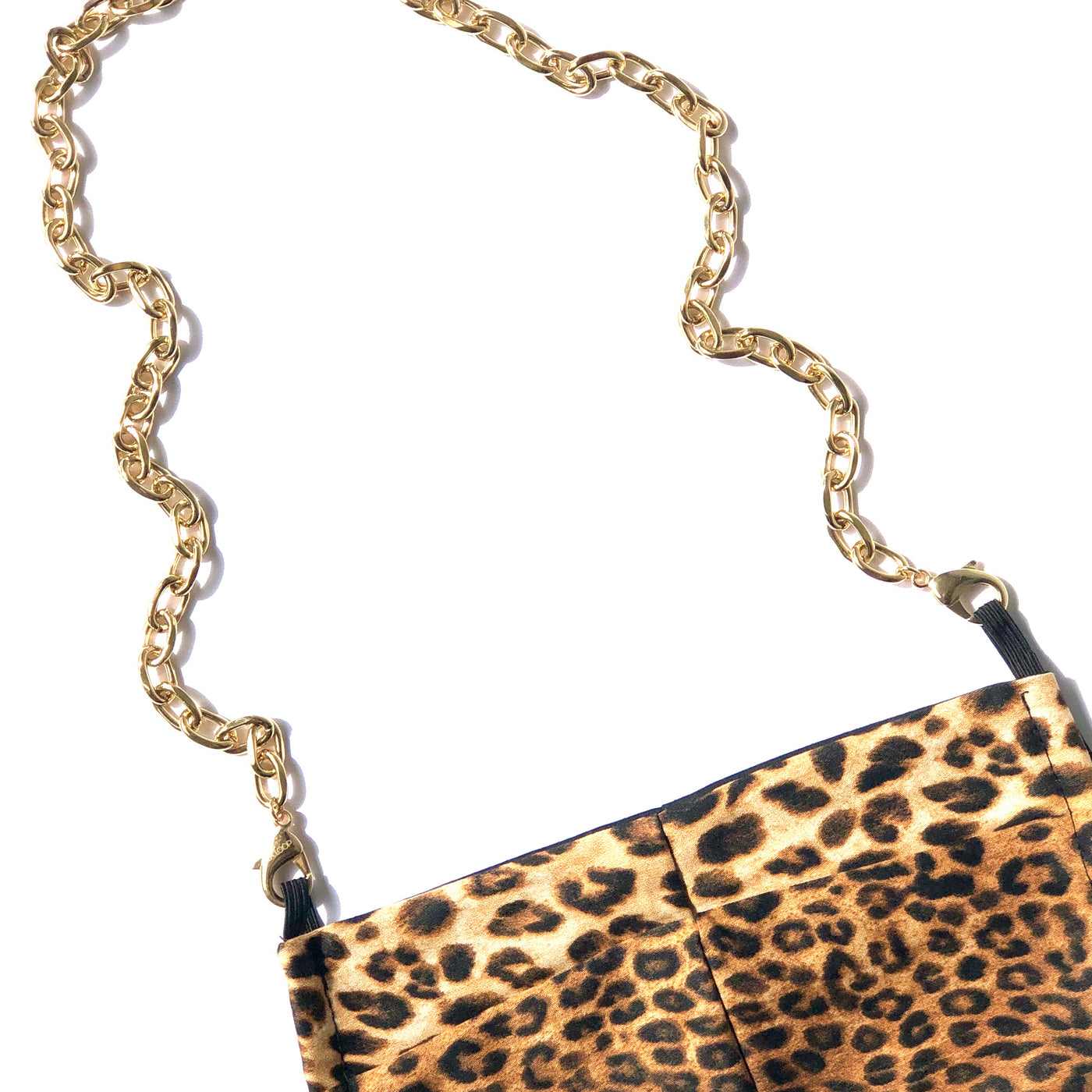 Vintage Gold Plated Chain with Leopard Cotton Mask