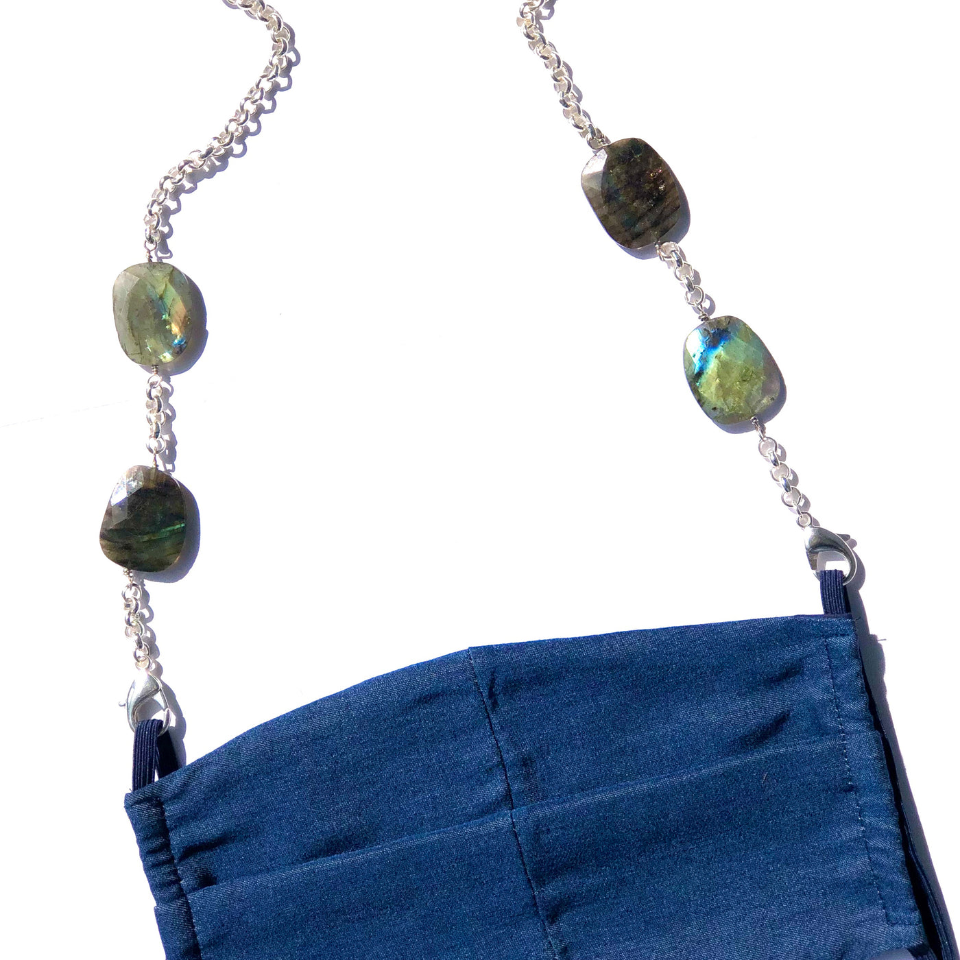 Labradorite & Silver Plated Rolo Chain with Denim Cotton Mask