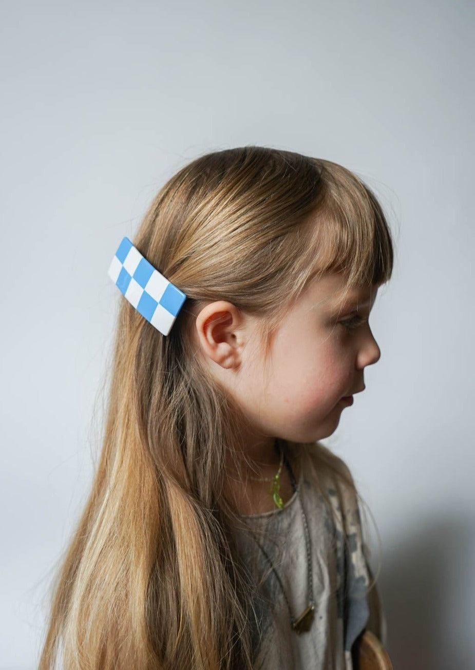 CHECKER BARRETTE / BLUE & WHITE