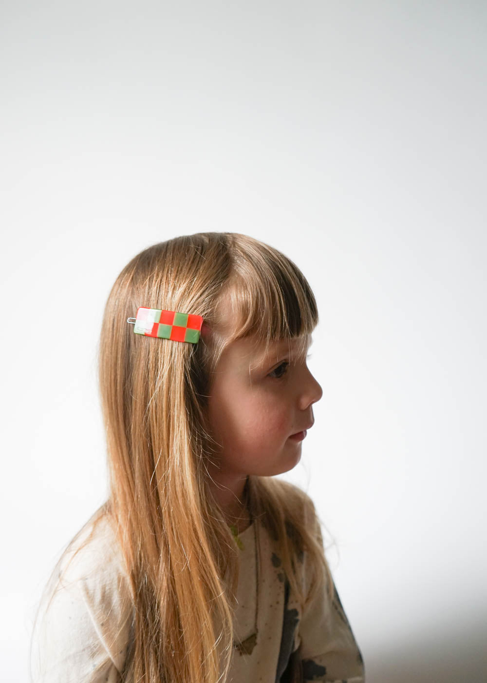 CHECKER BARRETTE / ORANGE & GREEN
