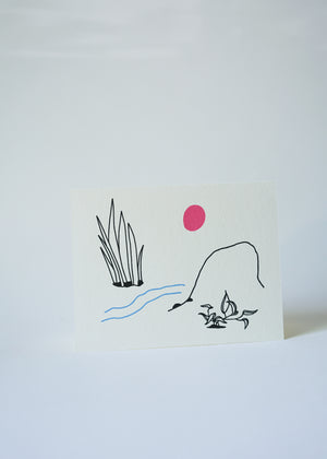 LANDSCAPE OF RIVER AND MOON CARD