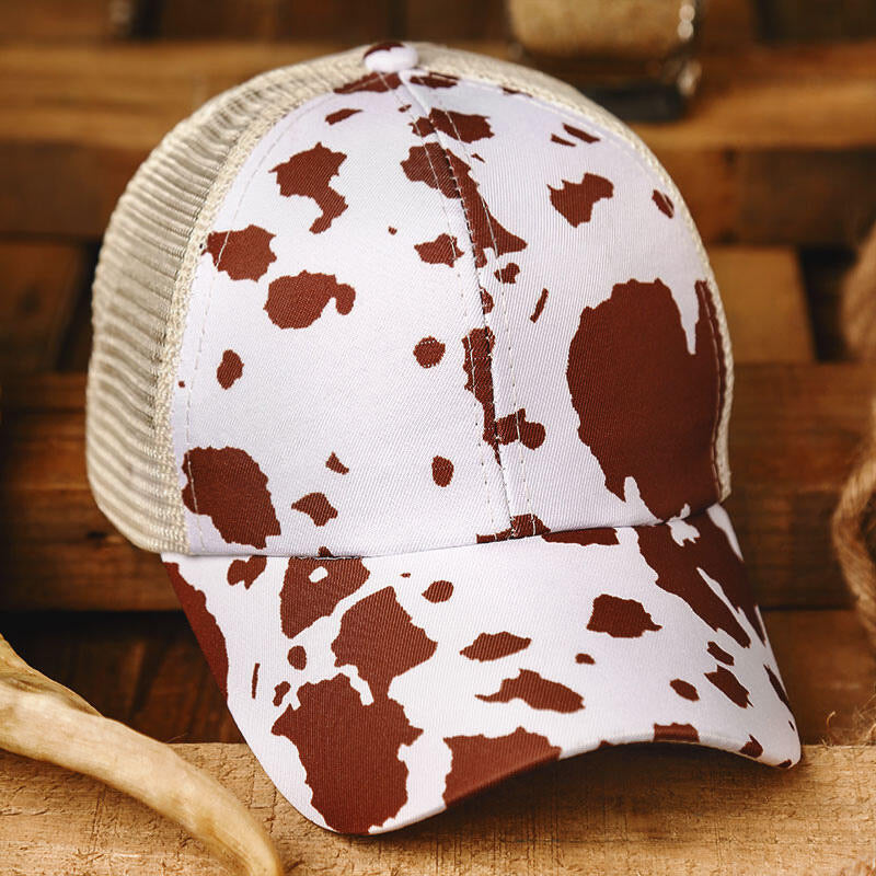 Cow Print Splicing Criss-Cross Baseball Cap