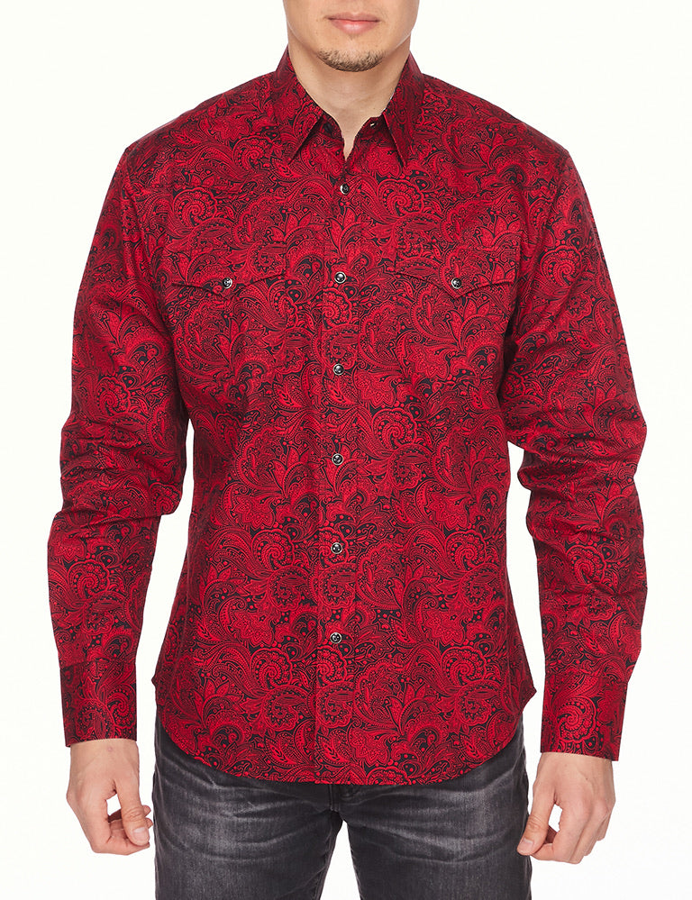"""Cowboy Christmas"" Red pearl snap button down"