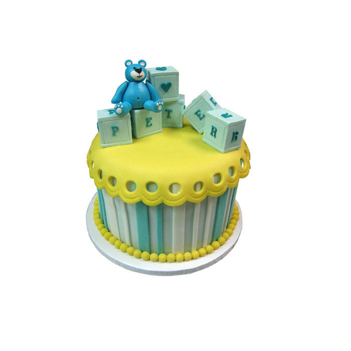 Baby Blocks & Bear Shower Cake