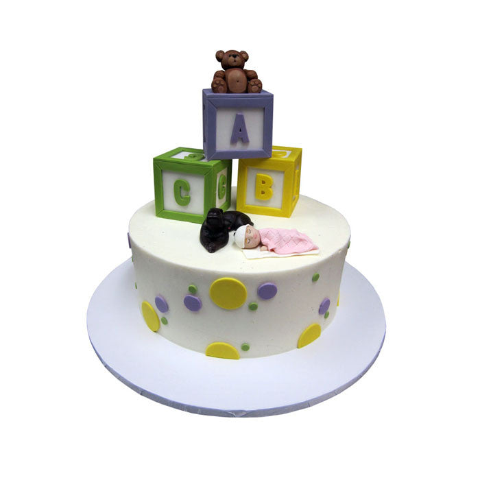 Sweet Sleeping Baby Blocks Cake