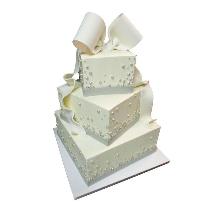 Bows and Beads Offset Square Cake