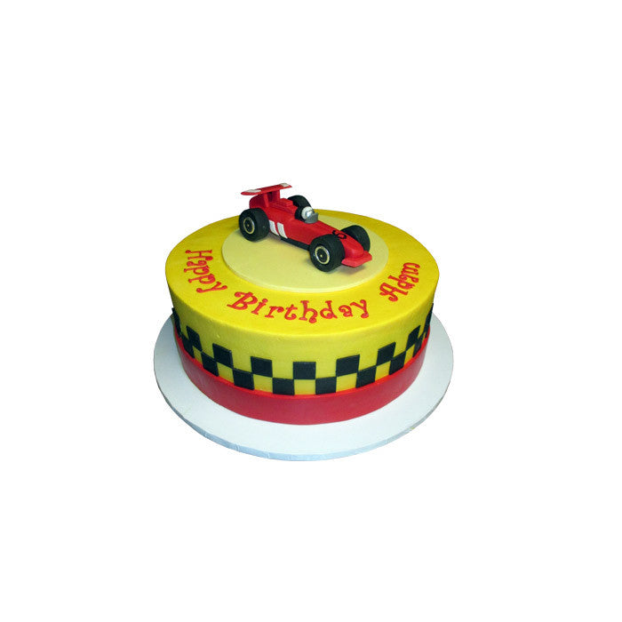 Red Racecar Checkerboard Cake