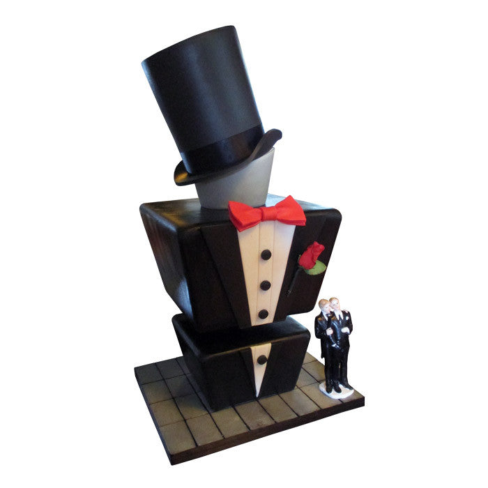 Handsome Tuxedo Torso Wedding Cake