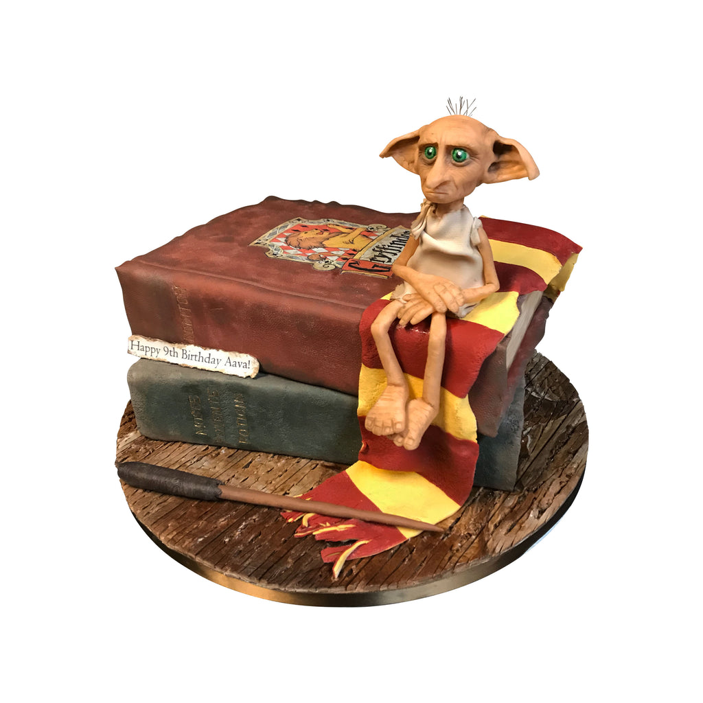 Dobby With His Books Cake