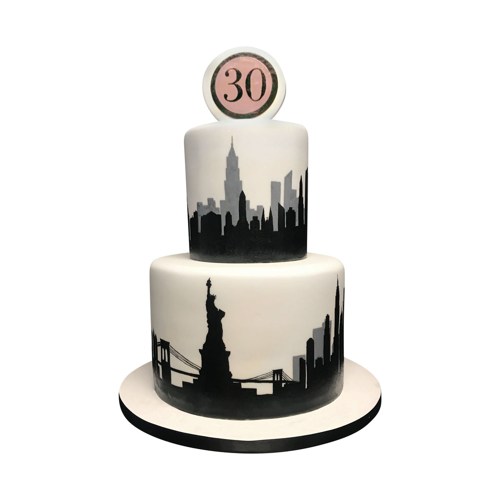 Grey and Black Painted NYC Skyline Cake