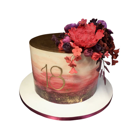 Colorful Floral Print Cutout Cake