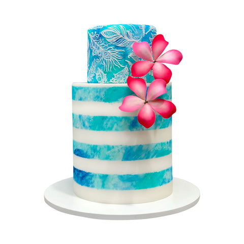 Black Floral Flowing Pattern Cake