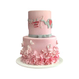 Pink Ruffles Clothesline Cake