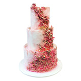 Pink and Glamorous Cake created by using hand painted techniques and sugar texturing