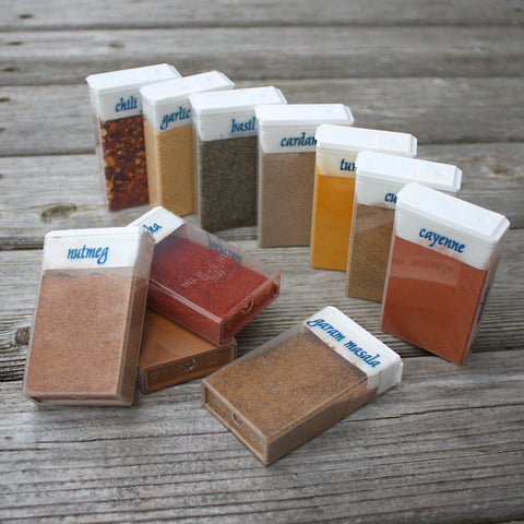 Repurposed TicTac Boxes for Travel Spices