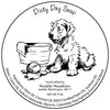 Dirty Dog soap retro label art illustration of dog with soap and bath tub