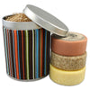 three round bar soaps in striped gift tin