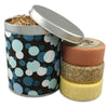 three round bar soaps in polka dot gift tin