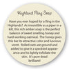 Highland Fling Soap insert story card
