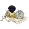 travel shave set with faux ivory handled brush, soap in tin & muslin pouch
