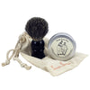 travel shave set with faux ebony handled brush, soap in tin & muslin pouch