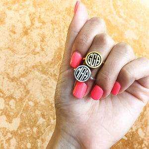 BESPOKE MONOGRAM RING in sterling silver