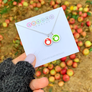 MINI APPLE CHARM sterling silver with rhodium plate