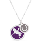 DRESSAGE RIDER & HORSESHOE NECKLACE sterling silver with rhodium plate