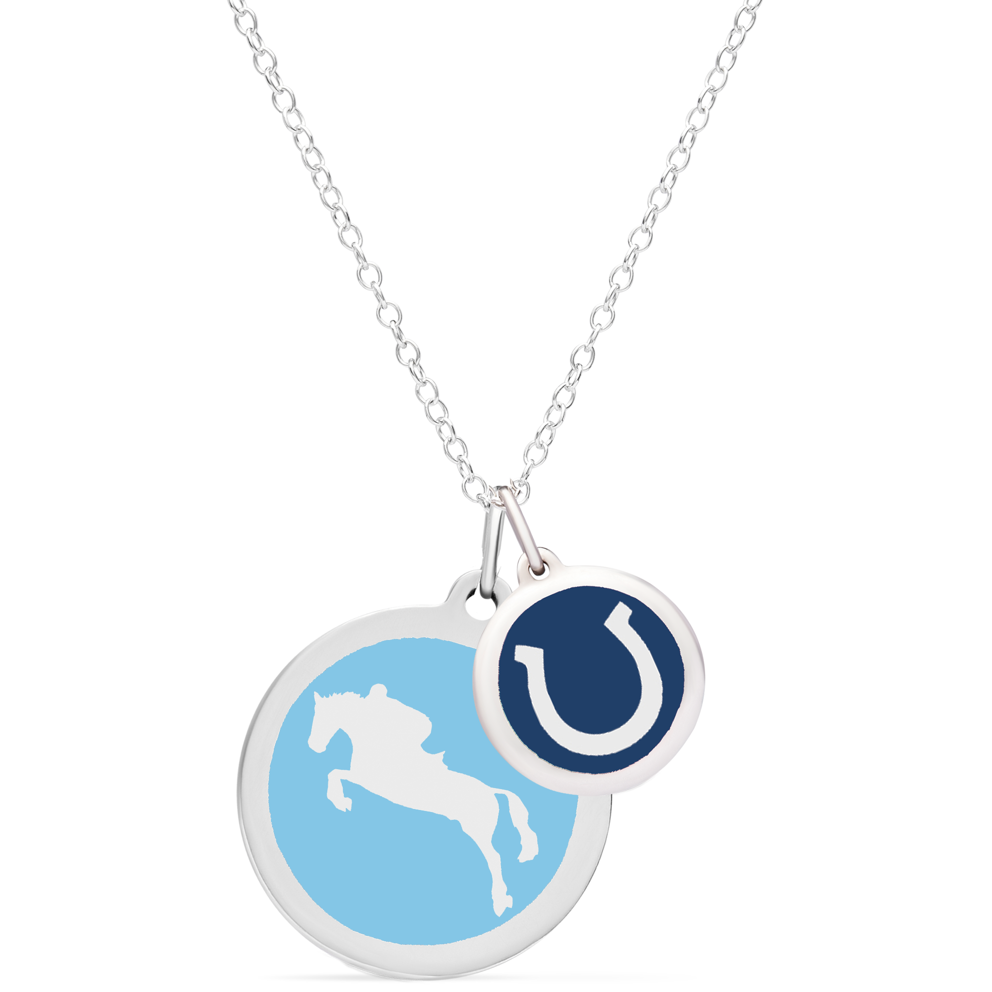 HUNTER JUMPER & HORSESHOE NECKLACE sterling silver with rhodium plate