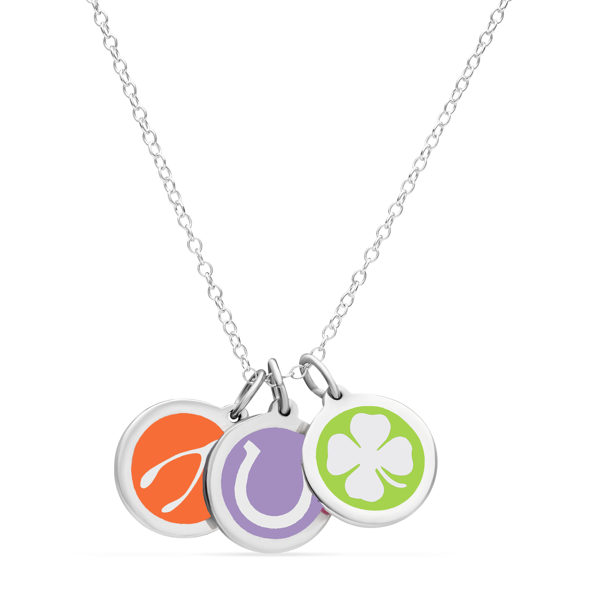 LUCKY CHARM NECKLACE sterling silver with rhodium plate