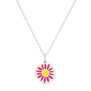 MINI PINK DAISY CHARM sterling silver with rhodium plate